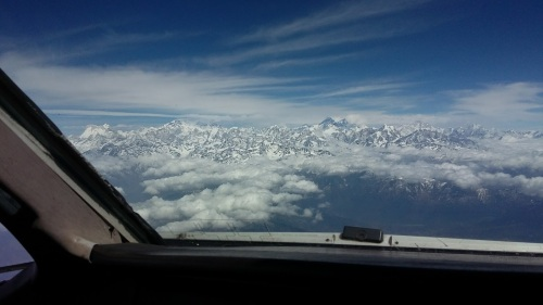 Everest from flight deck of ATR 42